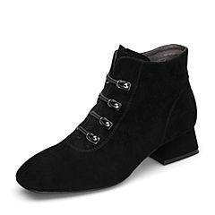 BASTO/百思图2018冬季专柜同款黑色羊绒皮革方头侧拉链女皮靴短靴RLU43DD8