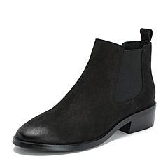 BASTO/百思图2018冬季专柜同款黑色牛皮革休闲方跟切尔西靴女短靴A1811DD8