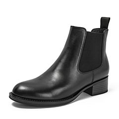 BASTO/百思图2018冬季专柜同款黑色牛皮革/布面简约帅气方跟切尔西靴女皮靴短靴A5281DD8