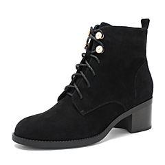 BASTO/百思图2018冬季黑色羊皮革珍珠系带侧拉链休闲方跟女皮靴短靴HD035DD8