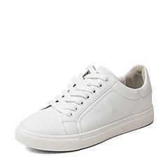 BASTO/百思图2018秋季白色牛皮革趣味鲸鱼装饰女休闲鞋小白鞋YPQ03CM8