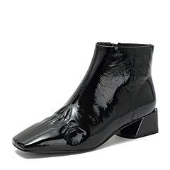 BASTO/百思图2018冬季黑色皱漆皮牛皮革方头侧拉链女皮靴短靴DD281DD8