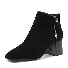 BASTO/百思图2018冬季专柜同款黑色羊皮革/牛皮革方头粗跟纯色女皮靴短靴A1850DD8
