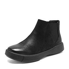 BASTO/百思图2018冬季黑色珠光摔纹牛皮革简约套筒女休闲靴短靴YMG07DD8