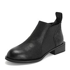 BASTO/百思图2018冬季专柜同款黑色牛皮革/纺织品简约休闲方跟女皮靴CD0H1DD8