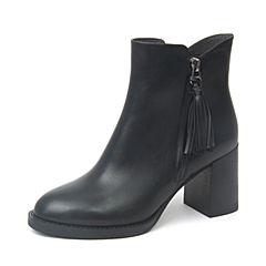 BASTO/百思图2018冬季黑色牛皮革流苏粗跟女皮靴短靴RAR59DD8