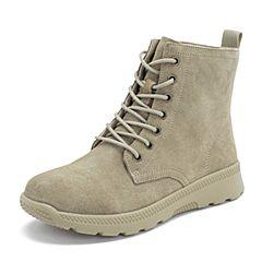 BASTO/百思图2018冬季专柜同款杏色剖层牛皮革系带马丁靴简约女短靴ZBS01DD8