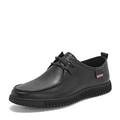 BASTO/百思图2019春季专柜同款黑色牛皮革系带男休闲鞋H9891AM9