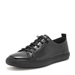 BASTO/百思图2019春季专柜同款黑色软面牛皮革系带男休闲鞋CDG02AM9