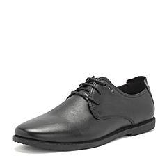 BASTO/百思图2019春季专柜同款黑色摔纹牛皮革商务休闲男皮鞋BTJ16AM9