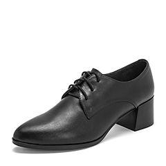 BASTO/百思图2019春季专柜同款黑色牛皮革系带粗跟纯色女皮鞋RUU20AM9