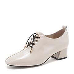 BASTO/百思图2019春季专柜同款米色漆皮牛皮革粗跟纯色女皮鞋RUV20AM9