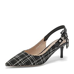 BASTO/百思图2019夏季专柜同款黑白/黑牛皮革/布面格纹通勤细跟女凉鞋RRJ08BH9