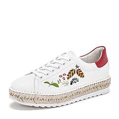 BASTO/百思图2019春季白/红牛皮革系带刺绣坡跟女休闲鞋小白鞋ZAA03AM9