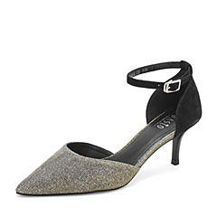 BASTO/百思图2019夏季专柜同款银灰/黑幻彩亮线布/羊皮革优雅细跟女凉鞋RRJ03BK9