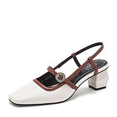 BASTO/百思图2019夏季专柜同款米白/砖红软面羊皮革甜美方跟休闲女皮凉鞋TAH01BH9