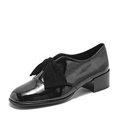 BASTO/百思图2019春季专柜同款黑色牛皮革漆皮蝴蝶结粗跟女单鞋ZAZ01AM9