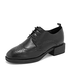 BASTO/百思图2019春季专柜同款黑色软面牛皮革系带镂花方跟女皮鞋YQY02AM9