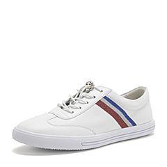 BASTO/百思图2019春季专柜同款白色软面牛皮革条纹系带小白鞋女休闲鞋YIP89AM9