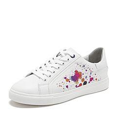 BASTO/百思图2019春季专柜同款白色软面牛皮革系带小白鞋女休闲鞋YPQ17AM9