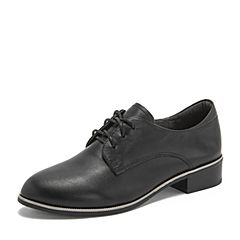 BASTO/百思图2019春季专柜同款黑色牛皮革系带方跟休闲女皮鞋RMD32AM9