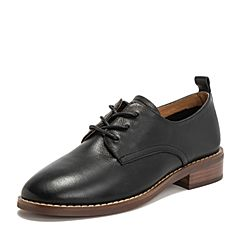 BASTO/百思图2019春季专柜同款黑色牛皮革纯色满帮系带女皮鞋A1188AM9