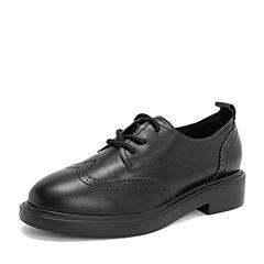 BASTO/百思图2019春季专柜同款黑色牛皮革系带休闲方跟女单鞋DA085AM9