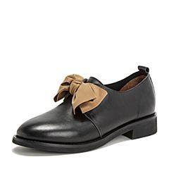 BASTO/百思图2019春季专柜同款黑色牛皮革甜美蝴蝶结方跟女皮鞋IA119AM9