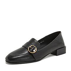 BASTO/百思图2019春季黑色牛皮革珍珠浅口乐福鞋方跟女单鞋YXB03AQ9