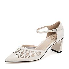 BASTO/百思图2019夏季专柜同款白色羊皮革尖头镂空方跟休闲女皮鞋PA306BK9