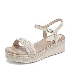 BASTO/百思图2019夏季专柜同款米白色绵羊皮革条纹休闲女皮凉鞋RMX14BL9