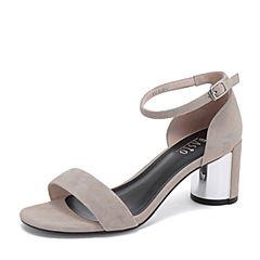 BASTO/百思图2019夏季专柜同款灰色羊绒皮革休闲女皮凉鞋RWO01BL9