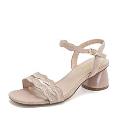 BASTO/百思图2019夏季专柜同款粉色羊绒皮革闪钻休闲女皮凉鞋RXH01BL9