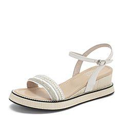 BASTO/百思图2019夏季专柜同款米色小牛皮革休闲女皮凉鞋TCN19BL9