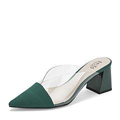 BASTO/百思图2019夏季专柜同款透明/绿色纺织物方跟休闲女皮凉鞋TBH01BH9