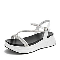 BASTO/百思图2019夏季专柜同款白色牛皮革休闲女皮凉鞋WAR02BL9