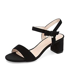 BASTO/百思图2019夏季黑色羊皮革绒面纯色休闲女凉鞋AL551BL9