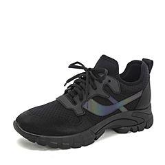 BASTO/百思图2019春季专柜同款黑色弹力布/TPU系带坡跟女休闲鞋A8968AM9