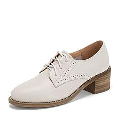 BASTO/百思图2019春季专柜同款米色软面牛皮革女皮鞋ZEG02AM9