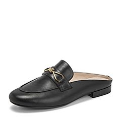 BASTO/百思图2019夏季专柜同款黑色牛皮革纯色后空休闲女皮凉鞋A4526BH9