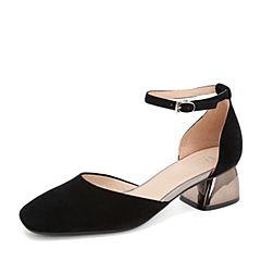 BASTO/百思图2019夏季黑色羊绒皮革绒面纯色休闲女皮凉鞋RTX08BK9