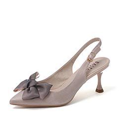 BASTO/百思图2019春季米色纺织品蝴蝶结细高跟浅口女单鞋A2019AQ9