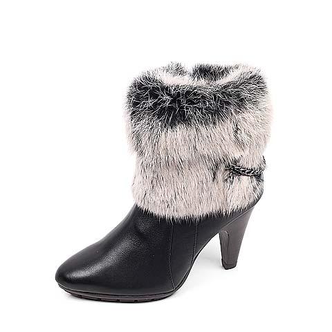 黑色 牛皮 mm80 bata08/Bata/拔佳2012冬季黑色小牛皮/黑灰兔毛女鞋AWI41D