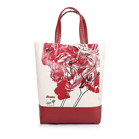 Bata/拔佳夏季时尚红色PU女士单肩包BA0001EX3