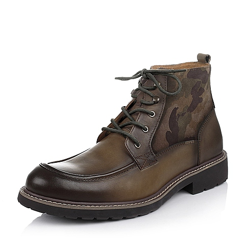 Bata/拔佳冬卡其色牛皮/绿色绒牛皮迷彩拼接马丁靴男靴(防静电)A5S53DD4
