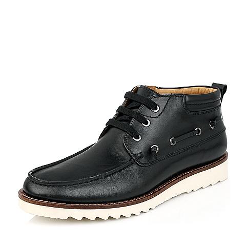 BATA/拔佳冬 黑色牛皮平跟低靴男鞋80101DD4 经典上班