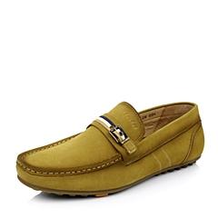 BATA/拔佳春 黄绿牛皮革低跟深口男鞋81M10AM5