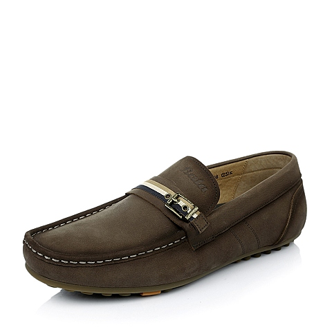 BATA/拔佳春 啡灰牛皮革低跟深口男鞋81M10AM5