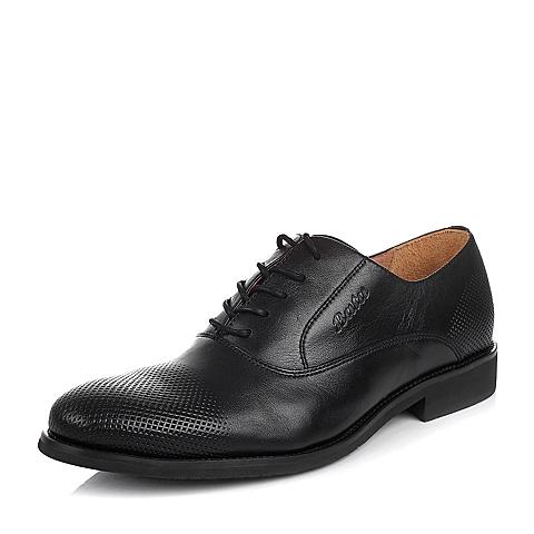 BATA/拔佳春 黑色牛皮革低跟深口男鞋A4Y01AM5