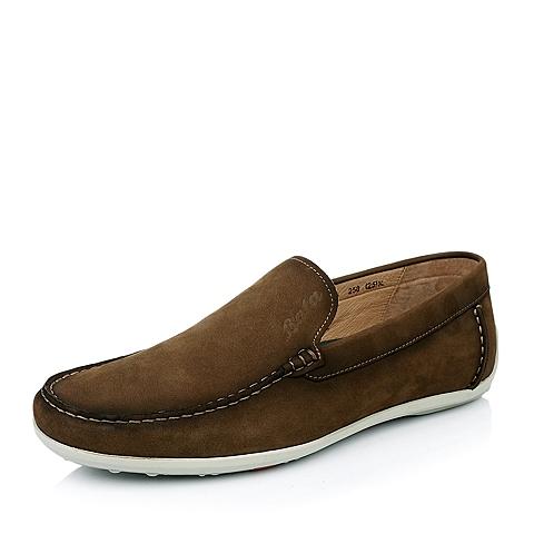 BATA/拔佳春 啡色牛皮革低跟深口男鞋A9N26AM5